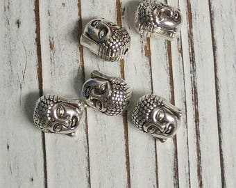 Tibetan Style Beads, Lead Free & Nickel Free, Buddha Head, Antique Silver, 11 x 9 x 8 mm, Hole: 1.5 mm, Overstock, DIY, Destash - 5 Pcs