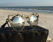 CLASSiC Silver Cat Eye Glasses Wire Wrapped SunGlasses Women, SPUNGLASSES, Retro, Wearable Art, Women's Sun Sunnies Eye Free Shipping