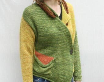 Asymmetrical knit mohair cardigan sweater boho blazer Klava Maple Leaves color blocked blazer warm winter statement sweater