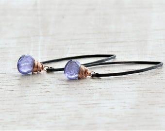 Tanzanite Earrings Rose Gold and Silver, Delicate Blue Gemstone Dangle Earrings, Delicate Tanzanite Jewelry, Genuine Tanzanite Earrings