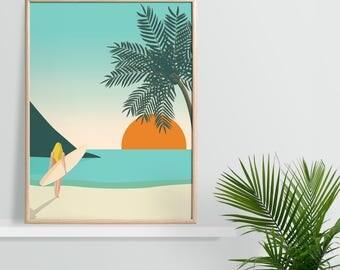Tropical Surfing Wall Art - 30 x 40cm A3 / 21 x 30cm A4 - Beach Print, Surf Art, California Style, Beachside Print, Tropical Decor