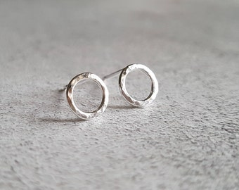 Silver Circle Studs - Open Circle Silver Studs - Open Circle Studs - Hammered Circle Studs - Hammered Studs - Small Studs - Silver Studs