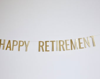 Happy Retirement Banner - Glitter Retirement Banner, Retirement Party, Work Party