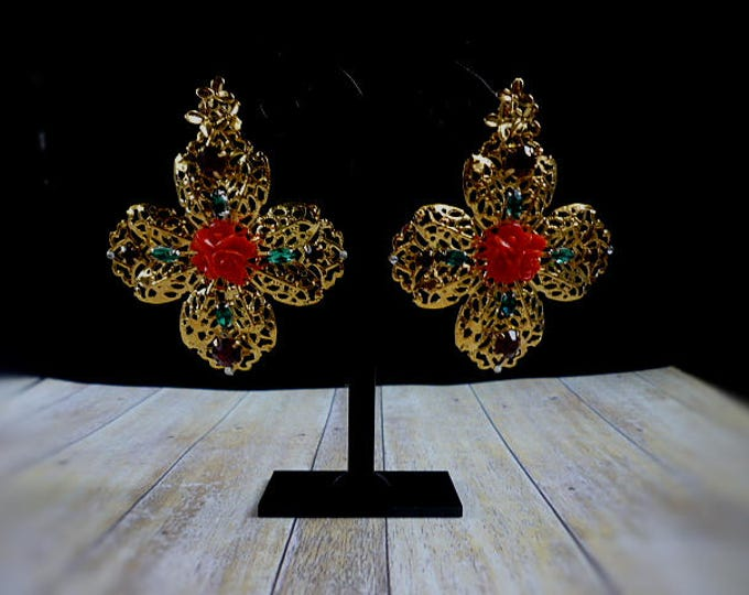 italian earrings Gold Dolce Red Green Cross Flower Earrings Filigree Wedding Dangle Earrings Baroque dangling earrings Bridal Jewelry luxury