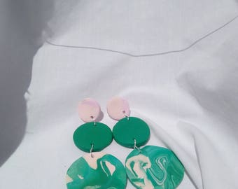 Vert et Rose - Polymer clay earrings - Green and pink