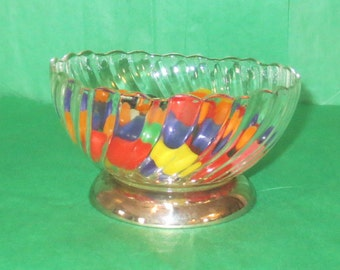 Vintage Glass & Silver Candy Dish