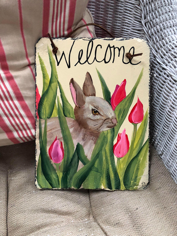 Easter Decorations Bunny Door Hanger Outdoor Painted Slate Tulips Spring Decor