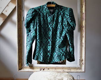 Guy Laroche fitted Veste printed baroque green and black shoulder puff Made in France Jacket VINTAGE Haute couture