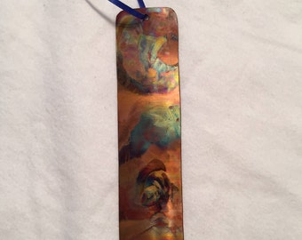 Copper Art Copper Book Mark Unique Art Burnished Copper metal art, book lover gift unique gift one of a kind gift for him or her small gift