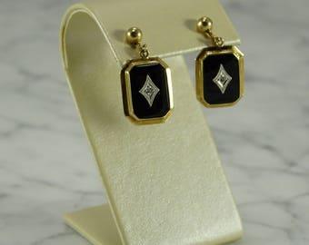Antique Rose Gold Onyx Diamond  Earrings (screw back)