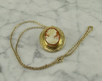 "14k Rose Gold Shell Cameo Pendant and 10K Chain (18"")"