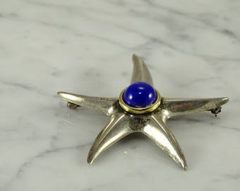 Tiffany Sterling 18K Gold Star fish Brooch