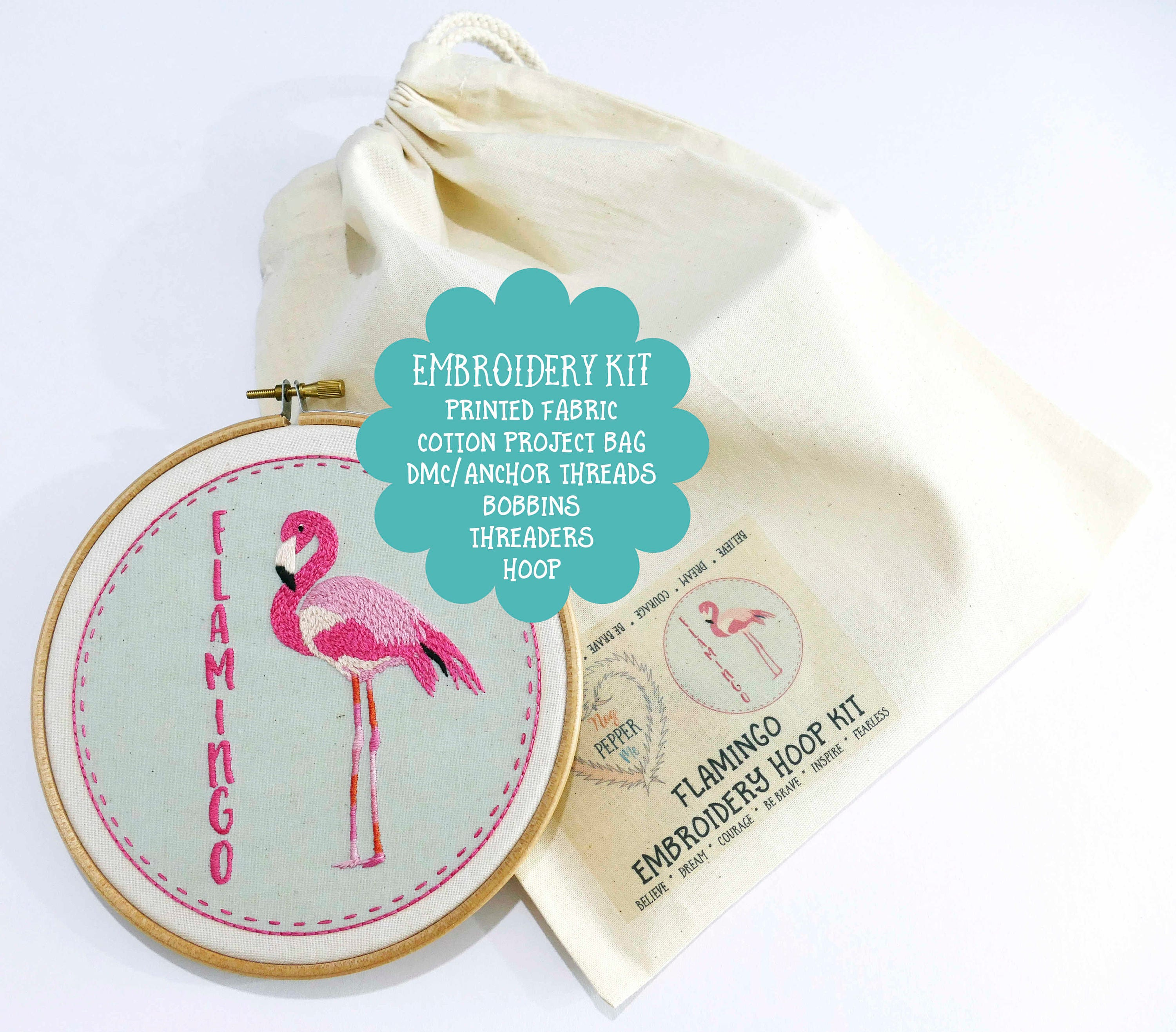Diy embroidery kit flamingo beginner hoop