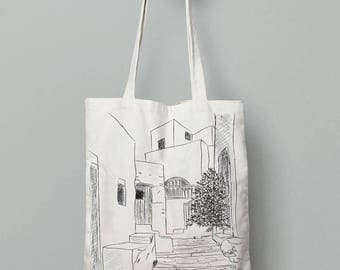 Amorgos bag, Tote bag canvas, summer tote bag, printed tote bag, Sketch art, made in greece, beach bag tote, tote bag canvas, summer gifts