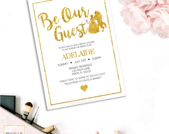 Beauty and the Beast Bridal Shower Invitation, Be Our Guest Bridal Shower Invitation, Disney Bridal Shower Invitation, Beauty and the Beast