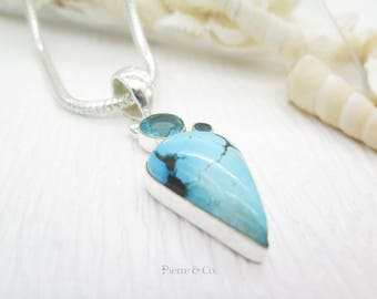 Tibetan Turquoise and Blue Topaz Sterling Silver Pendant ad Chain