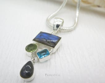 Blue Shine Labradorite Lemon Topaz and Blue Topaz Sterling Silver Pendant and Chain