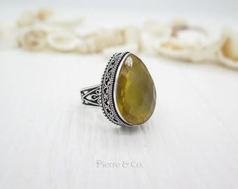 63 Carats Antique Citrine Sterling Silver Ring (Size 9.5)