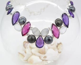 Amethyst Kunzite Fresh Water Pearl Mother of Pearl Sterling Silver Necklace