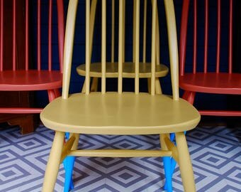 SOLD * Four vintage Ercol Windsor Quaker dining chairs, hand painted yellow and orange, mid-century, bespoke hand painted furniture