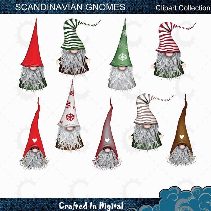 9 Scandinavian Christmas Gnomes, Tomte, Nisse, Santa, Elf ...