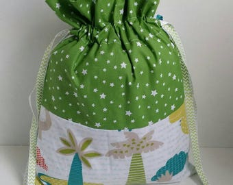 """School * pouch, bag, slippers bag, personalized changing """"Dinosaur and jungle"""" bag."""