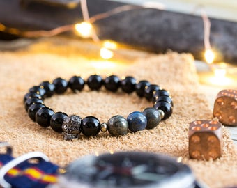 8mm - Black lava stone & half blue pyrite beaded stretchy bracelet with gunmetal skull , black bracelet, mens bracelet, skull bracelet