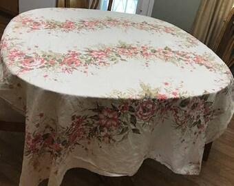 Cream Linen Tablecloth, rectangular Table, Floral Print Linen Tablecloth Shabby Chic Rustic Farmhouse Decor