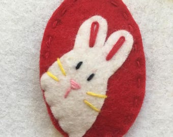 Red rabbit, felt hair clip, baby hair clip, toddler hair clip, Christmas gift, Easter gift, girgeous handmade, wool felt hair clip