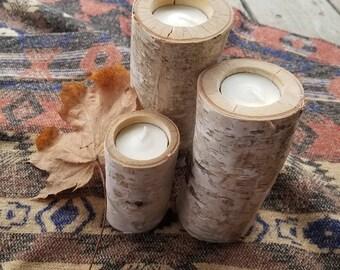 Handmade Local Birch tea light candle holders