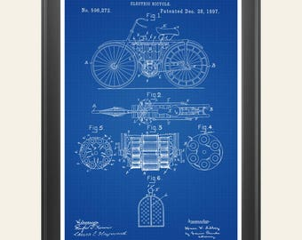 Electric vehicles etsy electric bicycle patent bicycle print electric bicycle poster biker gift electric vehicle malvernweather Image collections