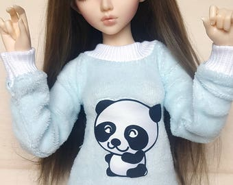 BJD MSD sized sweater with cute panda animal print for 1/4 sized dolls
