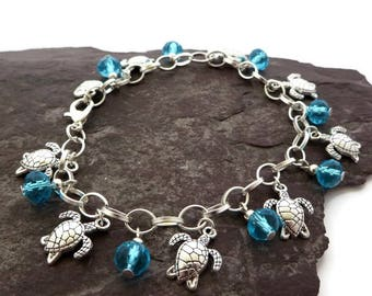 Turtle bracelet, Beachy jewelry, Sea silver charm bracelet, Boho jewelry, beach bracelet, Summer style, Turquoise crystal, tropical jewelry