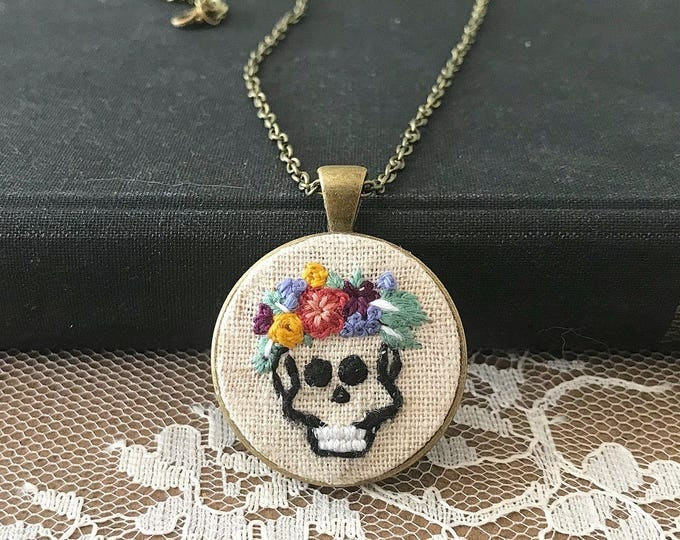 Hand Embroidered Floral Skull Pendant