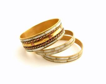 Bangle set Bracelet set for her Pearl bangle gold Stacked brass bangles Gold stacking bangle Gold stack bracelet boho Bracelet set for women