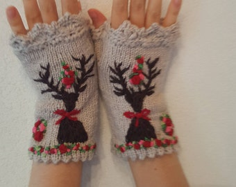 Hand Knitted Fingerless Gloves Deer Alps Bavarian style embroidered Wool Lace