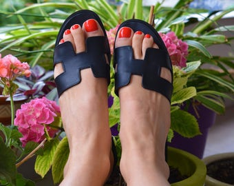 Hermes Leather Sandals, Black H Slides, Greek Leather Sandals,  Black Greek Sandals, Black Leather Slides (many colors)
