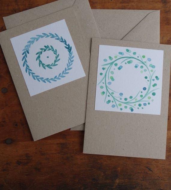 2er Set Illustrierte Grußkarten mit zwei verschiedenen Kränzen