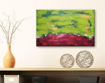Original Abstract Acrylic Painting Color Combo Red-Green 40x60 cm