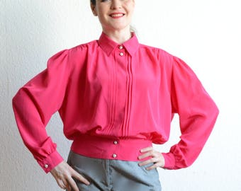 Large 1980s Hot Pink Blouse with Pearl Buttons and Pleated Detail Neon 80s Shirt