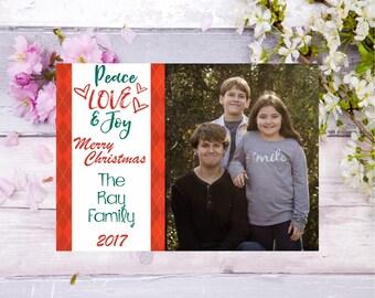Christmas card photo card Peace Love and Joy  Christmas family photo card December 2017 picture holiday card Santa winter