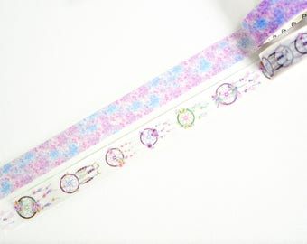Flower Dreamcatcher Washi Tape, Flower Washi Tape, Japanese Washi Tape, Masking Tape - W398