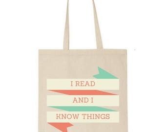I read and I know things tote - Game of Thrones - Market bag - Book bag - Book lover - Cotton - Gifts for readers - Tyrion Lannister