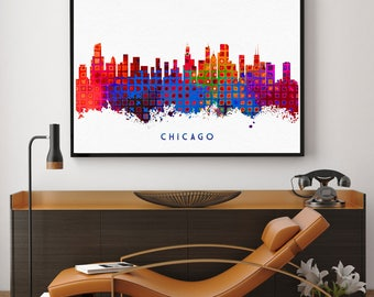 Chicago Skyline, Chicago Print, Chicago Poster, Chicago Wall Art, Chicago Home Decor, Bedroom Decor (N132)