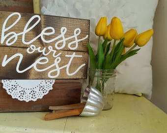Mini Bless Our Nest Wood Sign