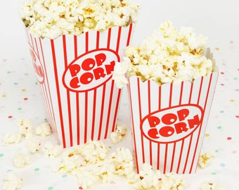 POPCORN Box | Red and White Popcorn Box | Party Snack Box | Popcorn Party Decoration | Party Serving Plates and Decorations | Set of 5