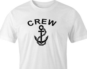 Crew & anchor print t-shirt,Ships Anchor print,Ships Crew t-shirt,Sailor print t-shirt, Boating print t-shirt,Boat crew print. Crew anchor.
