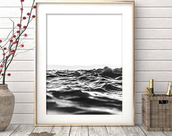 Printable Wall Art Prints, Ocean Print, Minimalist Art, Black and White Prints, Ocean Photography, Ocean Art, Printable Art, Ocean Waves