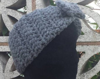 Crochet headband, gift for her, women headband, earwarmer headband, chunky crochet, bow headband, handmade, wide headband, gray headband