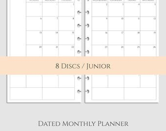 Dated Monthly Calendar Planner Inserts, 2017 & 2018 MO2P, Sunday-Saturday Layout ~ Half Size Discbound / Junior Arc (DHL-MSS)